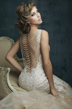 Shop the Allure Couture wedding dress! This sleeveless tulle fit-and-flare gown features a V-neckline with embroidery and a vintage-inspired beaded back. Western Wedding Dresses, Dream Wedding Dresses, Bridal Dresses, Wedding Gowns, Bridesmaid Dresses, Tulle Wedding, Mermaid Wedding, Gatsby Wedding Dress, Lace Mermaid