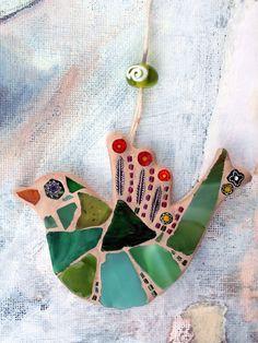 unique mosaic bird hanging decoration