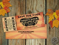 Save the Date Halloween Fall Wedding Party or by HydraulicGraphix, $30.00