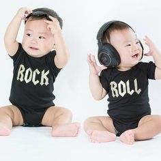 Pin for Later: 27 Adorable Onesies That Will Make Your Twins Instagram Famous Rock 'n' Roll Rock 'n' Roll Onesie Set ($36)