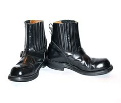 Vintage JUNIOR GAULTIER Biker Boots Black Leather by StatedStyle, $275.00