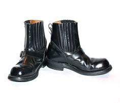 Vintage JUNIOR GAULTIER Biker Boots Black Leather by StatedStyle, $275.00