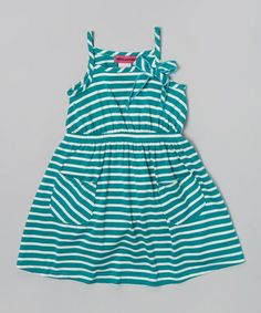 Loving this Teal Stripe Pocket Dress - Toddler & Girls on #zulily! #zulilyfinds