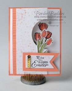 Circular cut out featuring tulips: Spring is in the Air! Elaine Paget: Stamp Crazy with Alison Stampin' Up!
