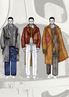ACNE Menswear Design Project Menswear range developed with focus towards washed denim and deconstructed knitwear. Man Illustration, Fashion Illustration Sketches, Fashion Sketches, Illustrations, Fashion Design Sketchbook, Fashion Design Drawings, Fashion Portfolio, Fashion Art, Paper Fashion