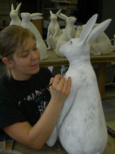 Kelly Connole\Kelly Connole / in the studio Title: in the studio Artist: Kelly Connole Technique: handbuiltKelly Connole , coil built bunny ZKelly Connole image of Kelly working on her bunny, beautifulKelly Connole is sculpting a bunny rabbit out of Paper Mache Projects, Paper Mache Clay, Paper Mache Sculpture, Paper Mache Crafts, Clay Art, Art Projects, Rabbit Sculpture, Papier Diy, Ceramic Animals
