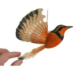 Wooden Bird, Fan Carving Mobile Varied Thrush, House Décor, Handmade... ($42) ❤ liked on Polyvore featuring home and home decor
