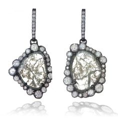 Kimberly Mcdonald diamond slice and blackened gold earrings