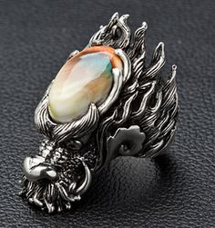 sterling silver dragon buckle | Shiva Shell Sterling Silver Dragon Head Rings