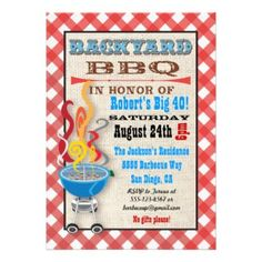Custom Backyard BBQ Themed Birthday Invitations