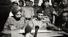 Bangladesh takes Birth1971.General Niazi of Pakistan Army surrenders to India's Lt.Gen Jagjit Singh Aurora(in turban) with largest one time 93,000 POWs.