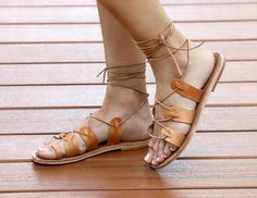 Smyi Womens Tan Leather Lace Up Gladiator by TheMerakiCompany