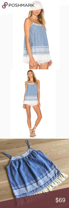 """SOFT JOIE Agneza Chambray Cami with Tassles NEW. This chambray cami is ready for any occasion whether it's a wild festival or a chill farmers market, this boho chic Tank will keep you cute and comfy. Soft Joie is a line of not so basic basics, with the softest blends of fabrics. Apx measurements 20"""" front length, 17"""" back length, 18"""" bust, 5.75"""" strap (at longest adjustment). Thanks for shopping my closet! Soft Joie Tops Camisoles"""