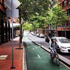 Protected bike lane, Kent St., Australia. Click image to tweet via Placefocus and visit the slowottawa.ca boards >> http://www.pinterest.com/slowottawa/