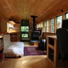 A 35' long school bus is decked out and doubles as a home.