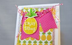 Card by Stacey Schafer. Reverse Confetti stamp set: Pineapples a Plenty. Confetti Cuts: Pineapples aplenty and Layered Banner Duo. Quick Card Panels: Piña Colada Friendship card. Any occasion card. Birthday card.