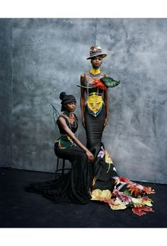 Kusudi and Kitu dresses, spring-summer 1997 John Galliano Dior Haute Couture collection, models Kiara Kabukuru and Debra Shaw Vogue Italia, March 1997 © Peter Lindbergh