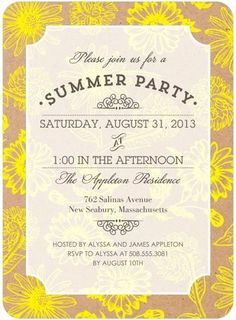Summer Sunflowers - Party Invitations