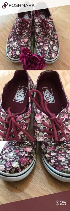 LIKE NEW VANS 🔥🔥 Burgundy floral lowtop Vans sneakers with a few minor scuffs Vans Shoes Sneakers