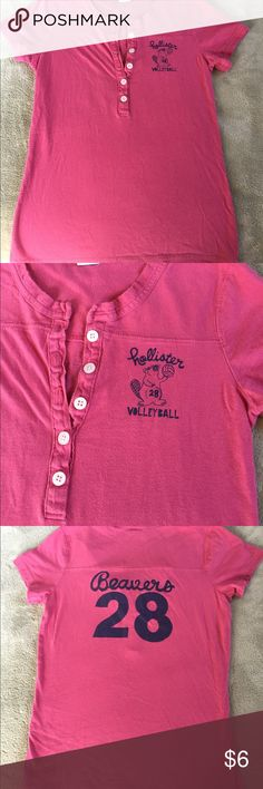 Pink Hollister top Cute varsity style button up tee. It fits like a small but the tag says large Hollister Tops Tees - Short Sleeve Hollister Tops, Button Up, Cool Style, Shop My, Tees, Sweatshirts, Sleeve, Womens Fashion, Sweaters