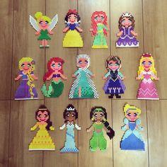Disney Princess (Tinker Bell, Snow White, Merida, Sofia, Rapunzel, Ariel, Elsa, Anna, Aurora, Belle, Tiana, Jasmine and Cinderella) perler beads  by k_booo_88