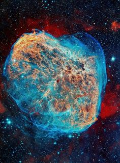 The Crescent Nebula, is a cosmic bubble about 25 light-years across, blown by winds from its central star (ejecting the equivalent of the Sun's mass every 10,000 years)  http://apod.nasa.gov/apod/ap090915.html