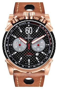CT Scuderia 'Fibra di Carbonio' Chronograph Leather Strap Watch, 44mm