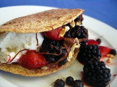 Dessert tacos with fruit & ice cream - #GlutenFree or #LowCarb with our Gerry's #GoNoGluten or #GoLowCarb wraps!