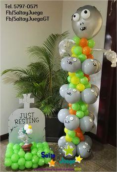 Columna de zombie y decoración de lápida y mano en globoflexia #SaltayJuega…