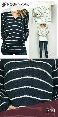 Soft long sleeve hooded sweater Soft long sleeve hooded sweater in navy and cream stripe.  Kangaroos pocket. Sweaters