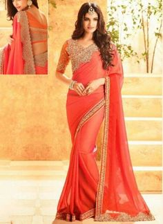 Tomato Red Embroidery Work Silk Georgette Designer Fancy Party Wear Sarees http://www.angelnx.com/Sarees