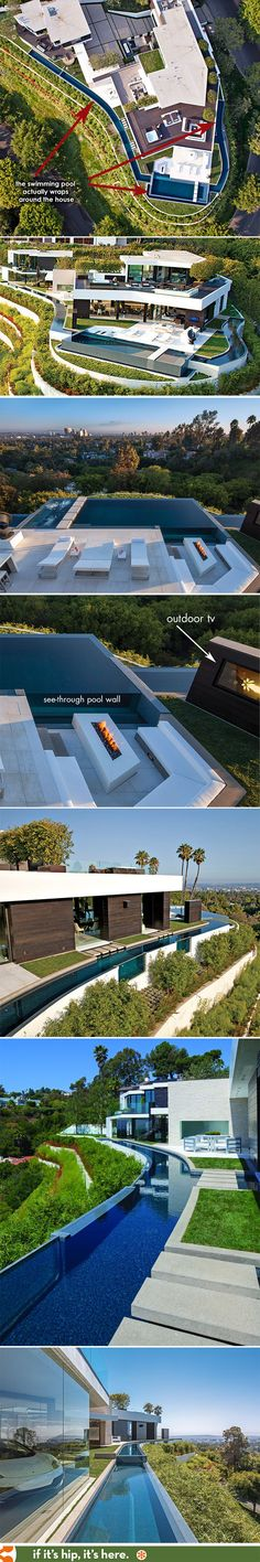 Modern Pool Designs and 3 Things Every Pool Owner Should Know – My Life Spot Modern Pools, Modern Mansion, Cool Pools, Pool Houses, Pool Designs, Building Design, Water Features, Exterior Design, Swimming Pools
