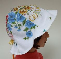 50% OFF: Flowery Hat for Beach or Party - Vintage Hankies and Buttons. $29.50, via Etsy.