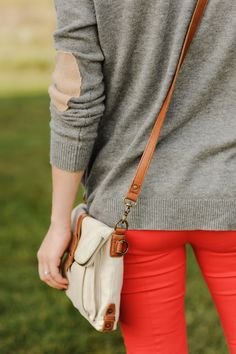 Elbow patches & red denim.