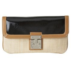 Natural woven bag with patent fold over flap and metal lock closure. Chain shoulder strap can be easily tucked inside. Inside features two full compartments, side zip pocket and two slip pockets. Measures approx L x H x 1 D, strap drop of Love To Shop, Bag Sale, My Bags, Purses And Handbags, Nine West, Fendi, Bag Accessories, Shoulder Strap, Jewelry Box