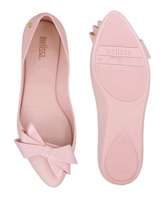 Melissa Soft pink rubber pointed bow flats | Melissa Vivienne Westwood