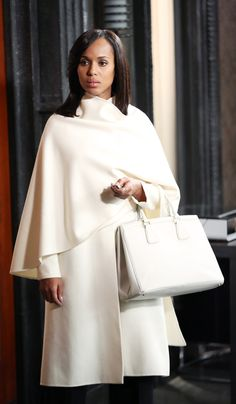 """Ralph Lauren"" Mariele Drape-Panel Coat - worn by Olivia Pope (Kerry Washington) on Scandal, season 4."