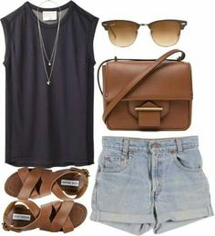 Denim Shorts with Brown Crossbody Bag, Brown Sandals and Navy Sleaveless Sweater.