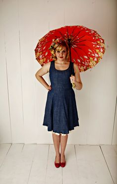 Miss Chloe's Sweet Chambray dress - Vintage reproduction cotton retro dress with princess seams & flared A-line skirt ~ and pockets