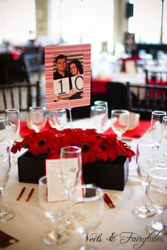 DIY table numbers created by the bride.