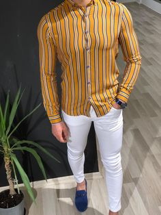 Benso SlimFit Striped Shirt Colors) is part of Striped shirt men - Shirt material viscoseAvailable Size SMLXLXXLMachine washable Yes Fitting slimfit Stylish Mens Outfits, Stylish Shirts, Casual Shirts For Men, Cool Outfits For Men, Cool Shirts For Men, Men Shirts, Shirt Men, Formal Dresses For Men, Formal Men Outfit