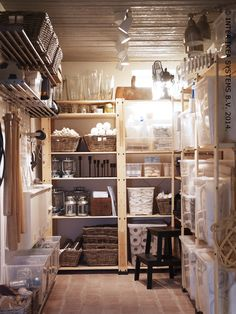 How to Use This Unexpected IKEA Product in Every Room of the Home Basement Storage, Pantry Storage, Storage Room, Rangement Garage Ikea, Ikea Samla, Cafe Interior, Interior Design, Pantry Room, Minimalist Apartment
