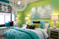 Astounding Lime Green Paint Accent Bedroom Wall Design With Cool Artistic Wall Painting And Twin Size Beds Be Equipped Beautiful Comforters Sets Plus Attractive Round Pendant Light, Beautiful Interesting Unique Teenage Bedroom Decoration Ideas : Bedroom, Interior