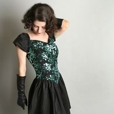 Vintage Anna Sui Black Dress 1980's s Sequin Dress Holiday