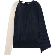 MarniTwo-tone Plissé Silk And Cotton-blend Top (€1.875) ❤ liked on Polyvore  featuring tops, navy, drape top, silk top, flared sleeve top, tie top and  blue ... bc2396597e6