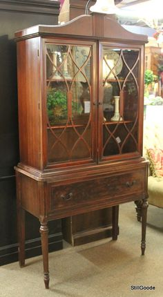 small vintage china cabinet with double glass doors 1 door 2 drawers interior