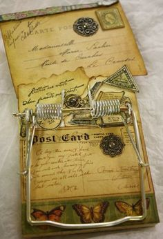 altered mouse trap - Is this great or not! Mouse Trap Diy, Mouse Traps, Hobbies And Crafts, Crafts To Make, Arts And Crafts, Altered Tins, Altered Art, Scrapbook Paper Crafts, Scrapbooking