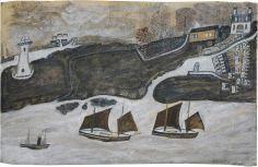 Alfred Wallis. Two Ships and Steamer Sailing Past a Port, Falmouth and St Anthony Lighthouse. 1931.