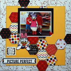 Picture Perfect - like the title and hexagons-use for other than disney. Album Scrapbook, Vacation Scrapbook, Disney Scrapbook Pages, Scrapbook Sketches, Scrapbook Page Layouts, Scrapbooking Ideas, Disney Theme, Disney Fun, Disney Ideas
