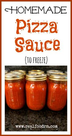 Homemade Pizza Sauce (to freeze). This is a great way to preserve all those summer tomatoes from your garden or local farmers market. Then you will have sauce to use all winter long. Big money saver! realfoodrn.com